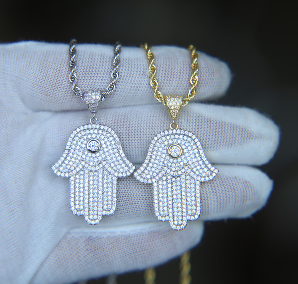 hip hop bling jewelry iced out cool boy mens necklace hamsa hand pendant gold silver plated cz cubic zirconia bling hiphop necklace for men