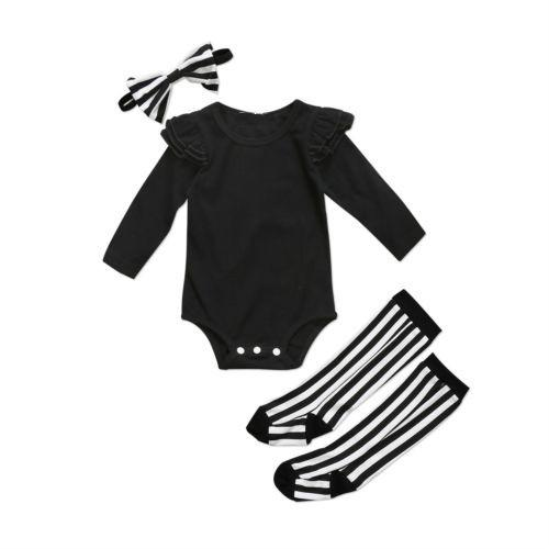 Black Newborn Baby Girls Ruffle Rompers Jumpsuit+Socks Leggings Headband Clothes Outfits Set Spring Summer Cotton