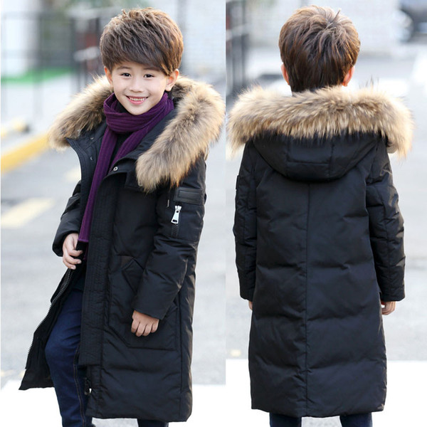 Teenage 2018 Boy Parkas Children Winter Warm Jackets Boy's Down Jacket Long Thick kids Clothes Coat Raccoon Fur Hooded