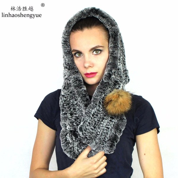 Wholesale- Linhaoshengyue 2017 NEW hot Real Rex rabbit fur women cap scarf hat with raccoon fur ball fashion warm