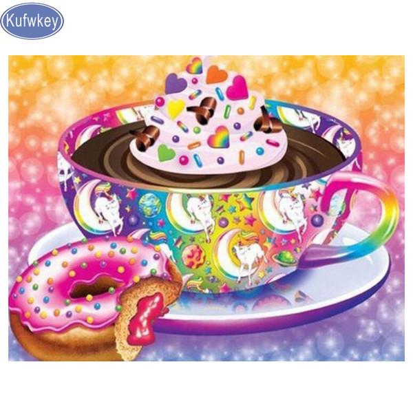 Coffee/cake/Doughnut Diamond Embroidery food Picture Of Rhinestones Home Decor 5D Diamond Painting Cross Stitch kitchen decor