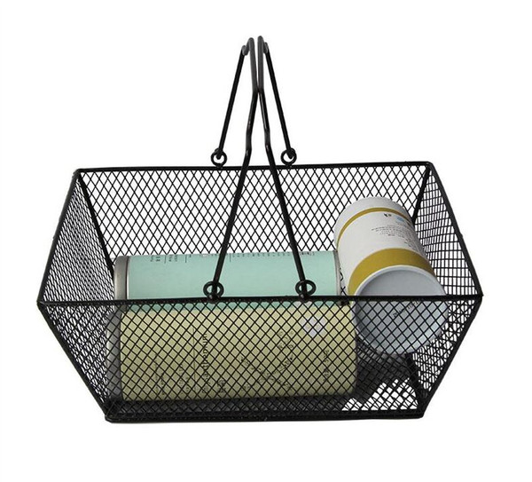 top popular New shopping baskets for cosmetics ,powder coated bastket for Cosmetics store Wire Mesh Basket With Metal Handles N.W.:0.5kg 2021