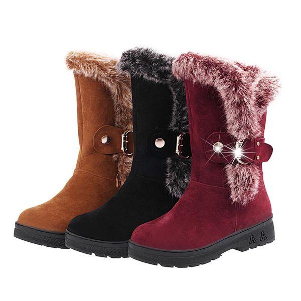 Women snow Boots for Female fashion Belt Buckle Faux Suede Plain Warm Ankle Boots fashion winter warm faux fur ladies snow shoes