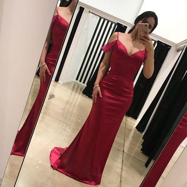 Sexy abendkleider dunkelrot burgund meerjungfrau abendkleid spaghettiträger rüschen ausgeschnitten zurück prom party dress sweep zug