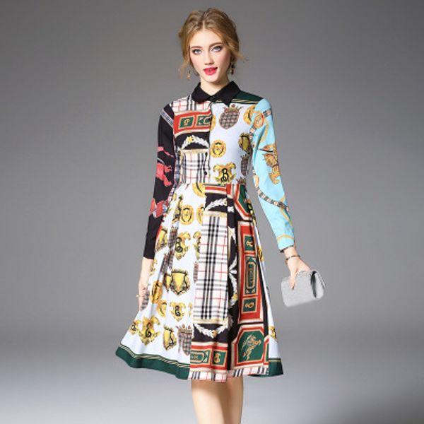 Moda Nova Primavera e Outono da senhora Contraste Cores Midi Vestidos, Nice Impressão Vestido, Manga Longa, Polo Pescoço