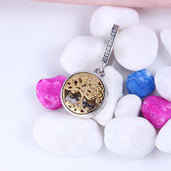 Authentic 925 Sterling Silver Bead Charm Gold Family Roots two-tone locket Pendant Bead Fit Bracelet Diy Jewelry