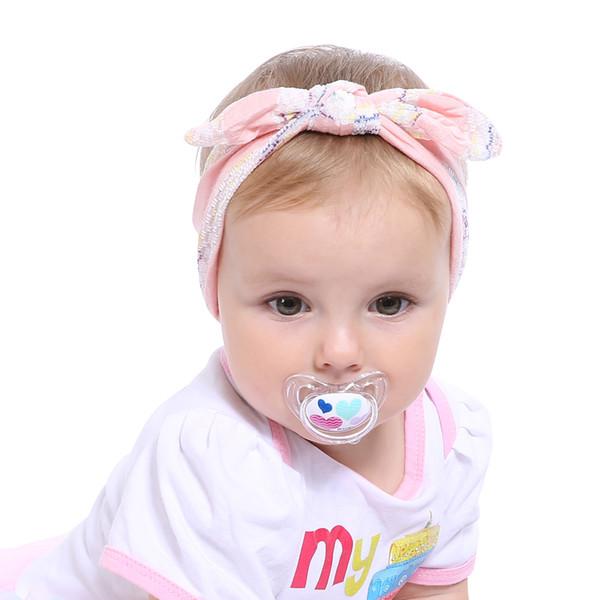 Мода дети эластичный диапазон волос девушки смешать стили точки завязывают головные уборы цветок бантом тюрбан аксессуары для волос