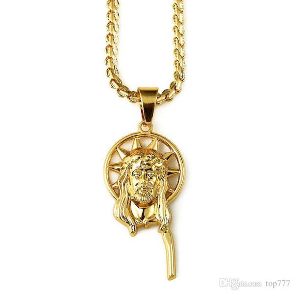 2018 Pendants Fashion Gold 75cm Long Necklace Jesus Head Round Pendant Necklaces Popcorn Chain Trendy Jewelry Women Men Gifts
