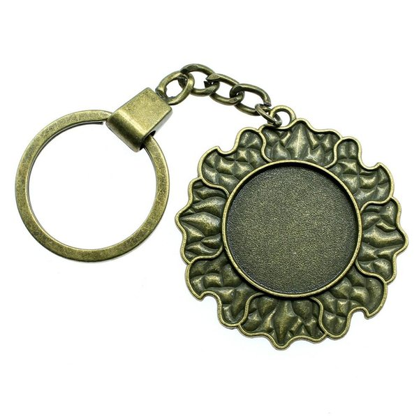 6 Pieces Key Chain Women Key Rings Fashion Keychains For Men Sun Clound Inner Size 25mm Round Cabochon Cameo Base Tray Bezel Blank