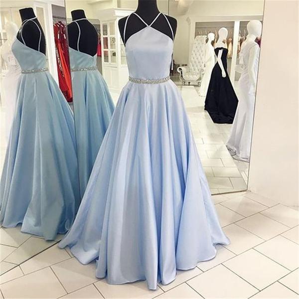 Elegant Mint Blue Satin Robes De Soirée Dos Nu Cristal Ceinture Une Ligne Longueur Au Sol Simple Robe Longue Formelle 2019 Robe De Soirée