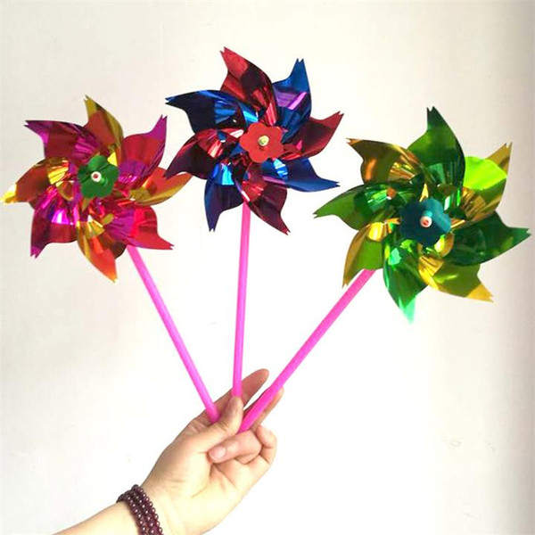 Colorful Novelty Toy Plastic Thin Slice Windmill Pinwheel Self Assembly Flower Wind Spinner DIY Gift for Children