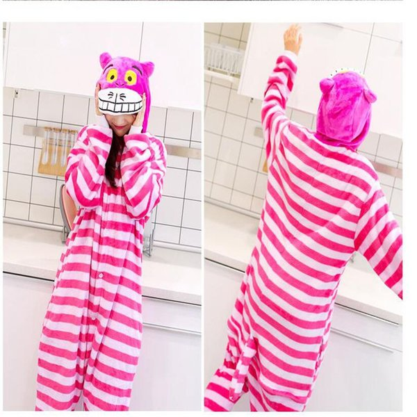 Unisex Adult Cosplay Pajamas Cheshire Cat Anime Sleepwear Animal Onesie Sleepsuit Pajamas Cosplay Costumes Sleepwear KKA4169