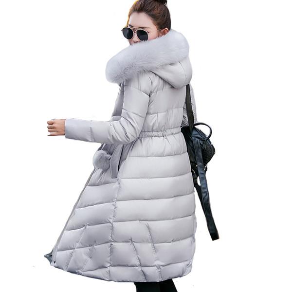 Col de fourrure long capuche casaco feminina inverno chaud épaissir coton rembourré haute qualité femmes veste d'hiver manteaux femmes parkas