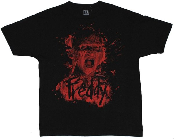Nightmare on Elm Street Mens T-Shirt - Freddy Splattered Screaming Image Mens 2018 fashion Brand T Shirt O-Neck 100%cotton T-Shirt Tops