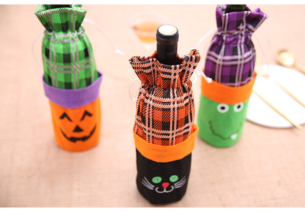 Halloween Red Wine Bottle Cover Storage Pouch Holders Bar Table 3D Decor Storage Bag Pouch Halloween Bottle Cover