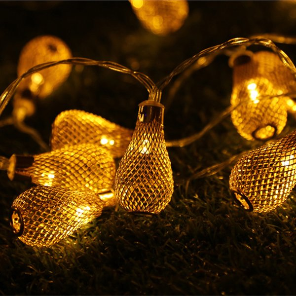 Wire bulb led water drop lamp string indoor decoration Christmas camping decorative lights iron battery lamp string