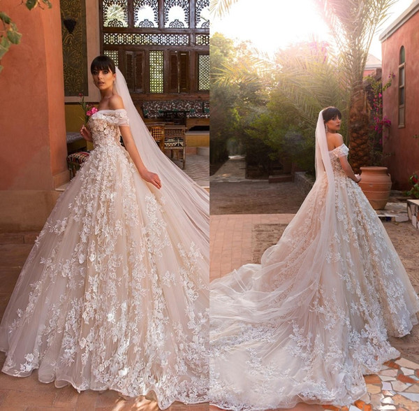 2019 Vintage Designer Wedding Dresses Off The Shoulder Full 3D Flowers  Backless Court Train Custom Made Bridal Gowns Design Your Wedding Dress