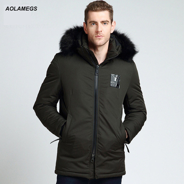 Aolamegs Down Jacket Men Badge Hooded Detachable Thick Winter Jacket Men Fur Collar Parkas Fashion Casual Windproof Coat Mens