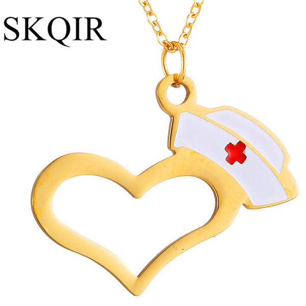 SKQIR Hat And Heart Necklaces Pendants For Doctor Nurse Medical Student Gift Rose/Silver/Gold Chain Stainless Steel Necklace
