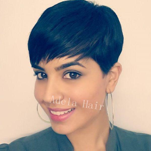 Menschenhaar Full Lace Short Cut Perücken Chic Soft Feeling natürliche schwarze brasilianische Menschenhaar Rihanna Perücken für schwarze Frau