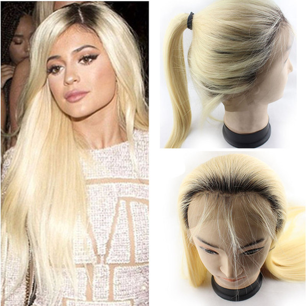 150% Density Ombre Pre Plucked Lace Front Wigs With Baby Hair 12-22 inch Brazilian Straight 1B/613 Honey Blonde Human Hair Wigs