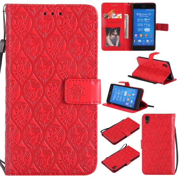 Sony Z3 için Standı Tasarım Cüzdan Stil Fotoğraf Çerçevesi Deri Kılıf Telefon Çanta Kapak Kart Sahibinin Ile 3D Kabartmalı Rattan Çiçek A095