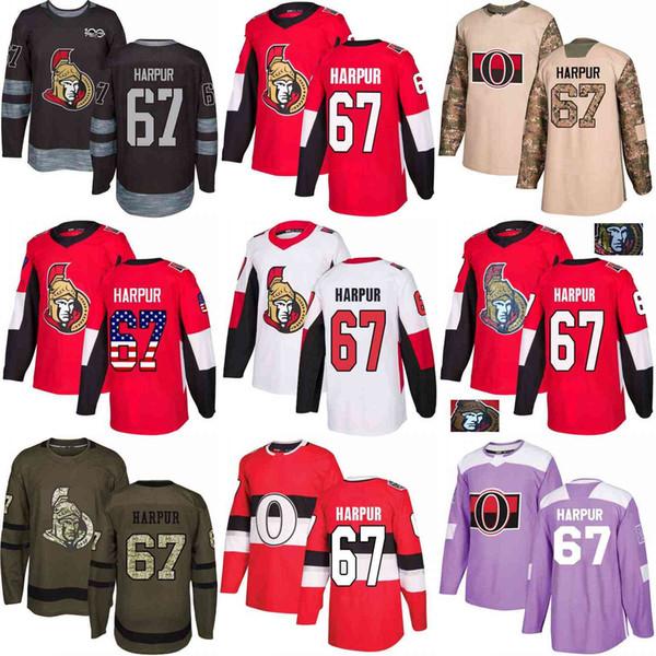 on sale bb188 15a5f 2019 Custom S XXXL Mens Womens Youth 2018 Ottawa Senators 67 Ben Harpur Red  White Army Green Black 100th Camo Hockey Jerseys From Jersey Shop 23, ...