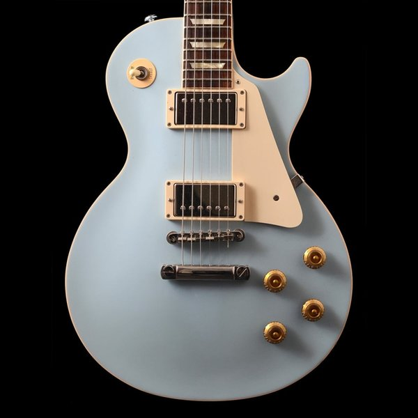 Custom Shop 1959 Blue Forest Electric Guitar Natural Back,Block White Pearl Fingeborard Inlay, Made in USA & Serial Number, Chrome Hardawre