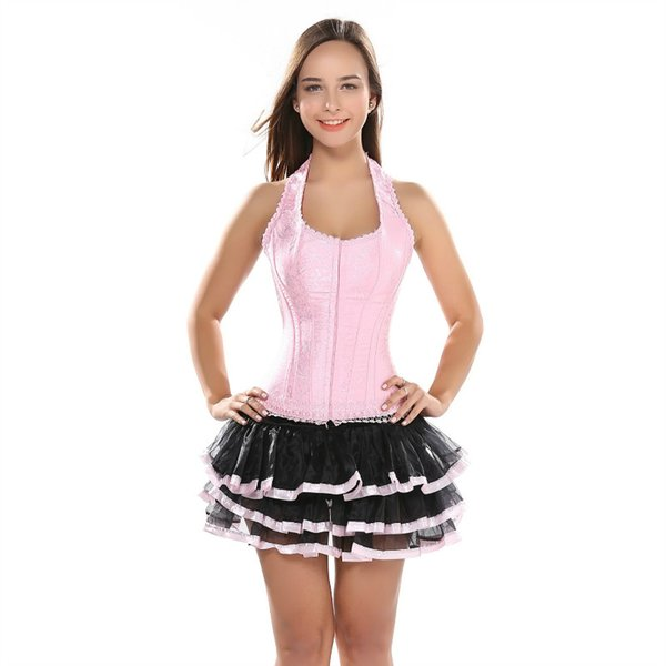 Women Halter neck Lace up Boned Corset overbust With tutu Skirt Embroidery Slim Body Shaper Bustier Corset Dress Free Shipping