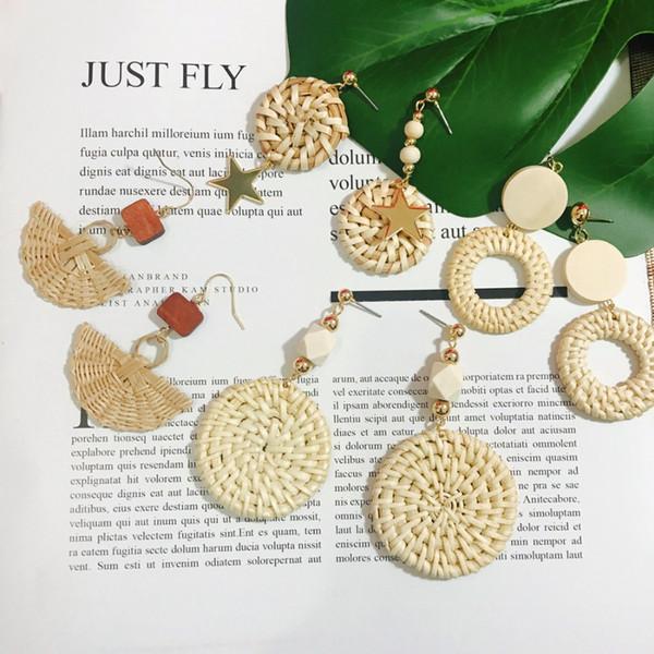 11 Stil Koreanische Handgemachte Rattan Weave Holz Ohrringe Große Geometrische Kreis Unregelmäßigen Ohrringe Für Frauen Beach Party Schmuck
