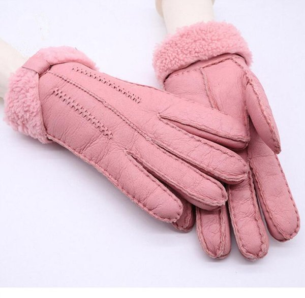 2018 Fashiln Outdoor Warm High Quality Fur Leather Women Gloves Fall Winter Windproof Sheepskin Gloves Solid Color Multi Colors Optional