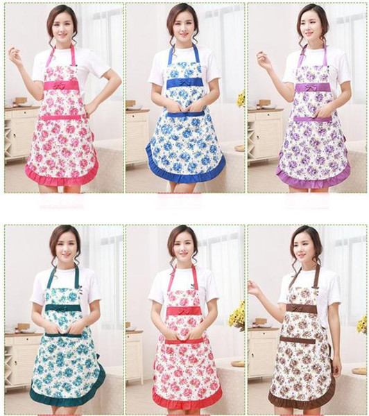 top popular New Printed Apron with Pockets Waterproof Floral Bib Kitchen Soil Release Bowknot Home Textiles Breech Cloth SN1188 2020