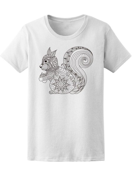 Té dessiné à la main pour femme Zentangle Squirrel -Image de ShutterstockFunny livraison gratuite Unisexe Casual tee cadeau