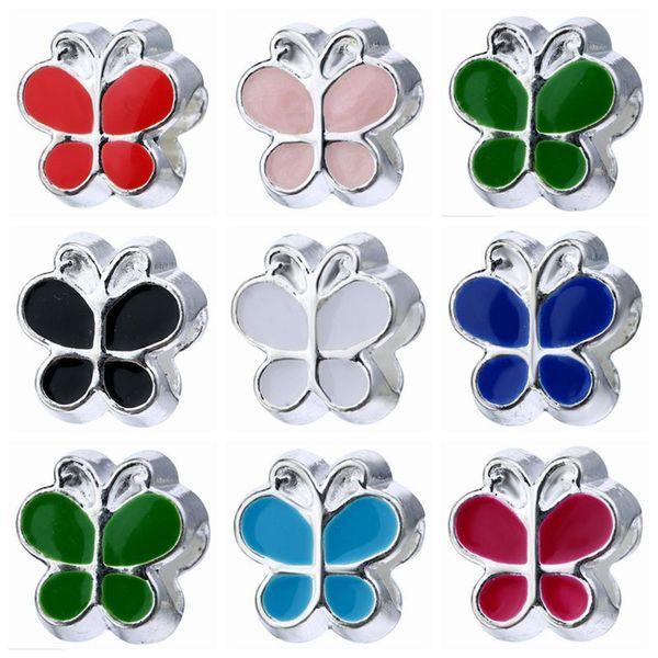 Comercio al por mayor 50 UNIDS Moda NUEVA Aleación de metal Esmalte de La Mariposa Granos fit European Charm pulsera DIY Joyería Para Las Mujeres RHB63