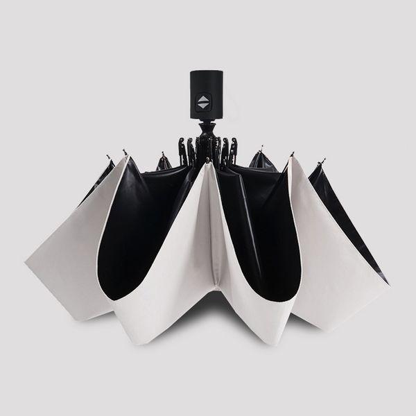 Mode Blanc Auto Ouvert Auto Fermer Parapluie Pluie Femmes Hommes 3 Pliant Parapluie Automatique Noir Revêtement Sun Umbrella Mini livraison gratuite