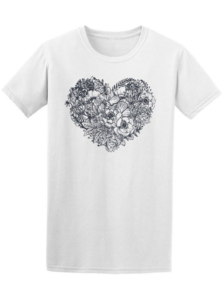 Floral Heart Bouquet Doodle Men's Tee - Image by Shutterstock Quality Print New Summer Style Cotton top tee Cotton Shirts Cheap Wholesale