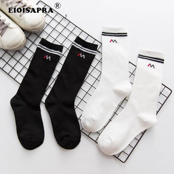 [EIOISAPRA]Autumn/Winter Letter Two Poles Stripe Streets Fashion Trends Women Socks Black/White Color Heap Heap Socks Sokken