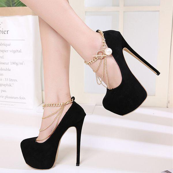 16cm Luxury Ladies Designer Shoes Gold Chain Black Ultra High Heel Platform Pumps Size 35 to 40
