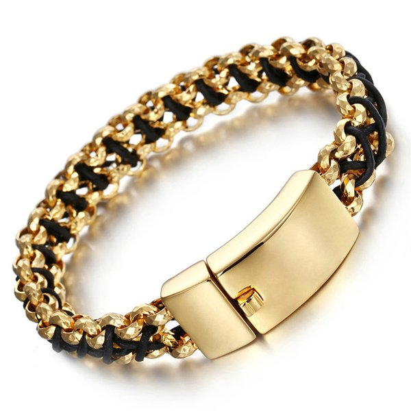 Fashion Punk Stainless Steel Leather Bracelet for Men Gold/Silver Titanium Steel Wave Braided Rope Bracelet Male Jewelry