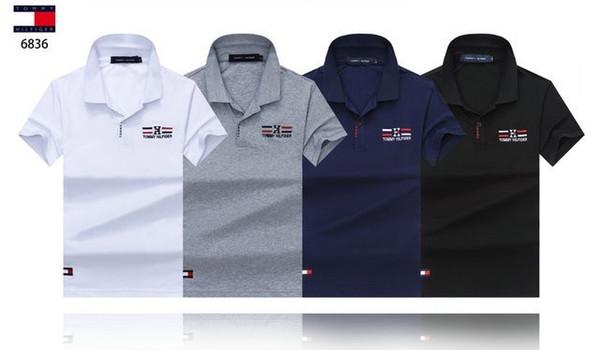 Camisa POLO de 2018 nuevos hombres, elegante y cómoda, con bordado, luz importada 100% algodón El precio de