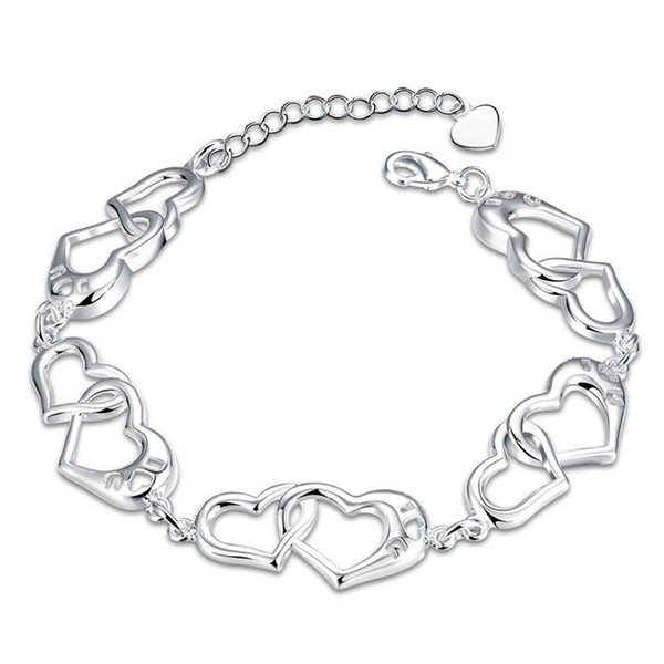 Good A++!Women's style hollowed out h sterling silver plated bracelet SPB431;high quatity fashion men and women 925 silver Charm Bracelets