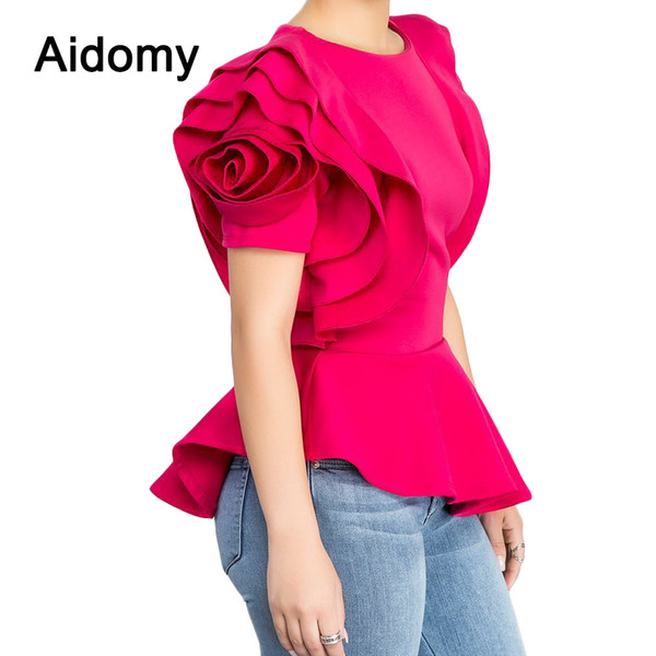 Rose Applique Women Tops Blouses Summer Short Sleeve Ruffles Shirts Evening Party Wear Peplum Top Female Shirt Black White Red