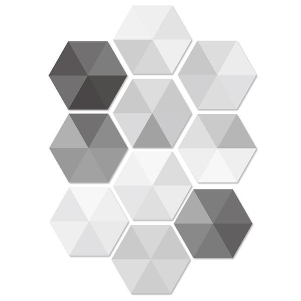 Großhandel 10 Teile / Satz Hexagon PVC Aufkleber Wasserdicht Anit Skid  Wohnzimmer Bad Boden Dekoration Wandtattoos Schwarz Weiß Grau Fliesen  Poster ...