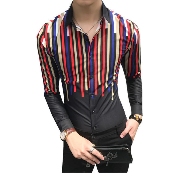 Korean Dress Shirt Men Fashion 2018 Autumn Men's Social Shirts Night Club Slim Fit Long Sleeve Singer Shirts Casual Men Clothes