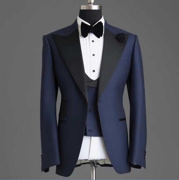 Personalizar Bonito Pico Lapela Azul MarinhoUm Botão Do Casamento Do Noivo Smoking Ternos Dos Homens de Casamento / Baile / Jantar Melhor Homem Blazer (Jacket + Tie + Vest + Calças)