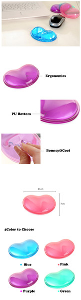 New Heart Silicon Mouse Pad Clear Wristband Pad For Desktop Computer Wonderful Gift cuore della silicon mouse pad Hot Selling