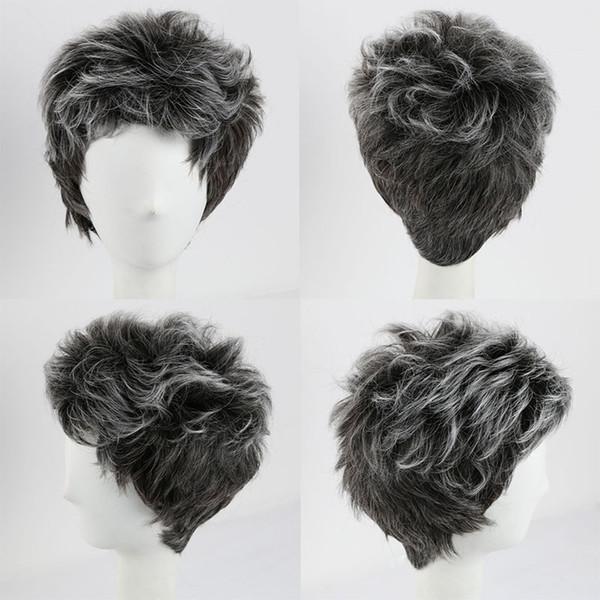 Großhandel Kurze Synthetische Haar Ombre Grey Perücke Für Mens Women Daily Kostüm Cosplay Synthetische Perücken Afroamerikaner Perücken Und Cap