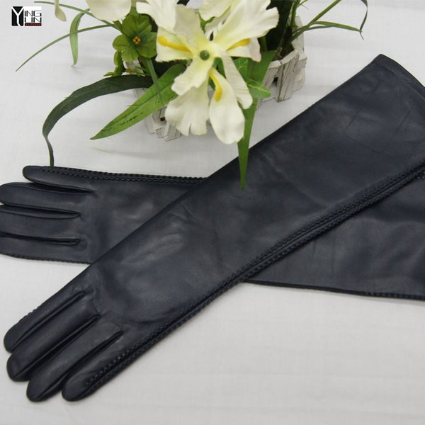 2018 new winter lady fashion use-phone genuine leather gloves women sheepskin mittens female long style Elbow Arm sleeve BD50