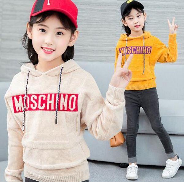 Детская одежда, осень и зима, свитер новой девушки, большой мальчик, корейская шляпа, мода вязаный свитер Свитер.