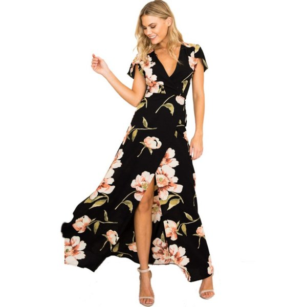 a8cb92f28a Petal Sleeve Elegant Maxi Dress Summer Spring Sexy Floral print V neck Wrap Split  Long Dresses Short sleeve boho maxi Vestidos